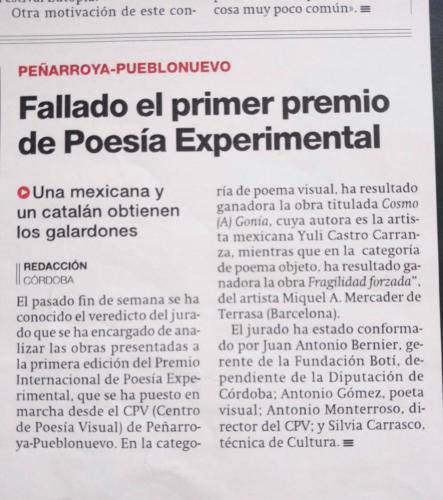 Guanyador Premi Poesia Visual Córdoba